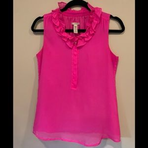 J. Crew 100% Silk Hot Pink Sleeveless Blouse Small